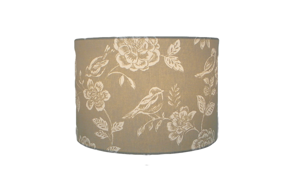 Beige Birds and flowers handmade lampshade, Drum, Hexagon or Empire Shape