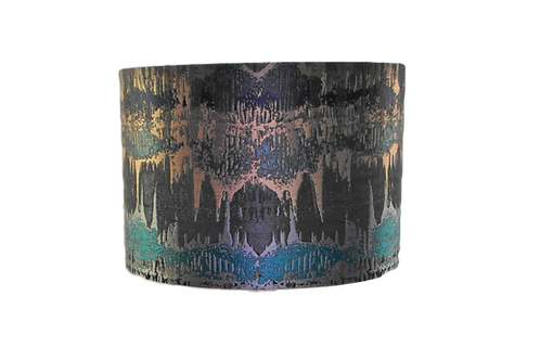Inca Teal and Gold Handmade Lampshade, Drum or Empire Shap