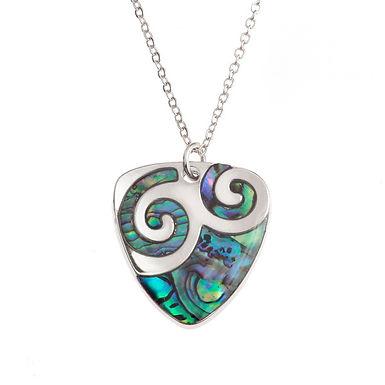 Inlaid Paua Shell Plectrum Koru Swirl Necklace