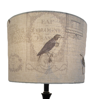 French Chic Birds Design fabric Handmade Lampshade, Drum or Empire Shapes