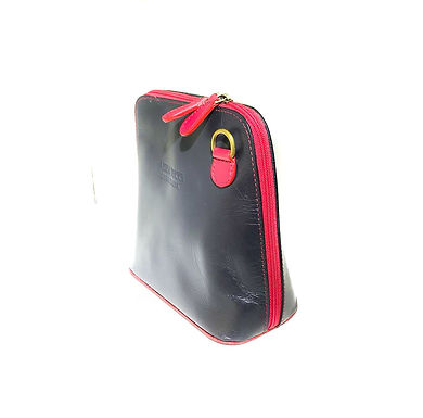 Vera Tucci 'Rhiannon' Italian Leather Black/Red Shoulder Bag