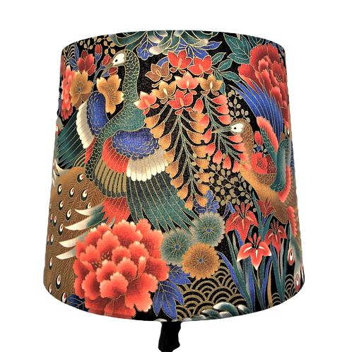 Japanese Cotton Peacocks Design With Gold Outlines Empire or Drum Handmade Lamps