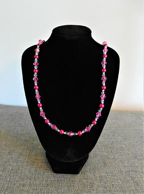 Pink and Silver Bead Necklace