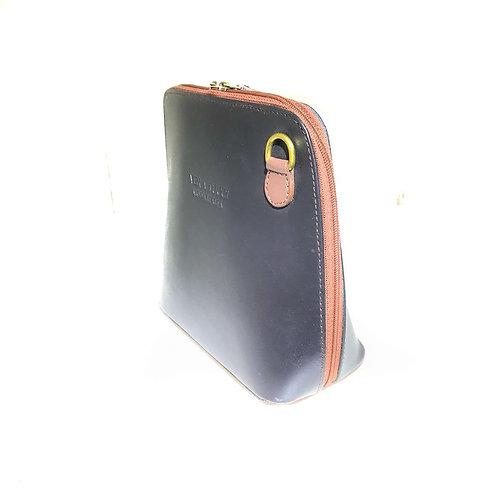 Vera Tucci 'Rhiannon' Italian Leather Black/Brown Shoulder Bag