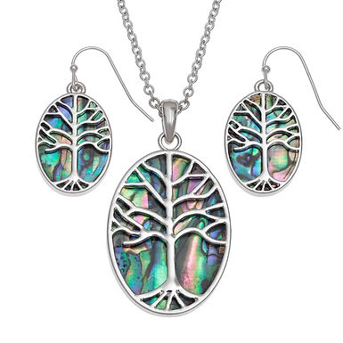 Inlaid Paua Shell Tree of life Necklace and Earrings set