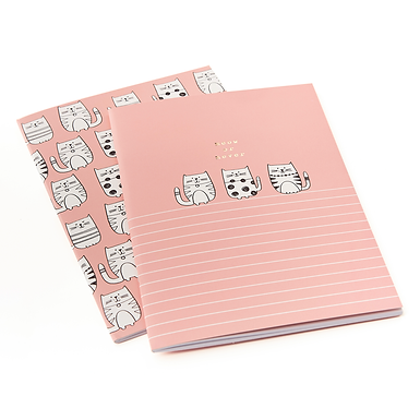 Set of Two Cat A5 Exercise Books