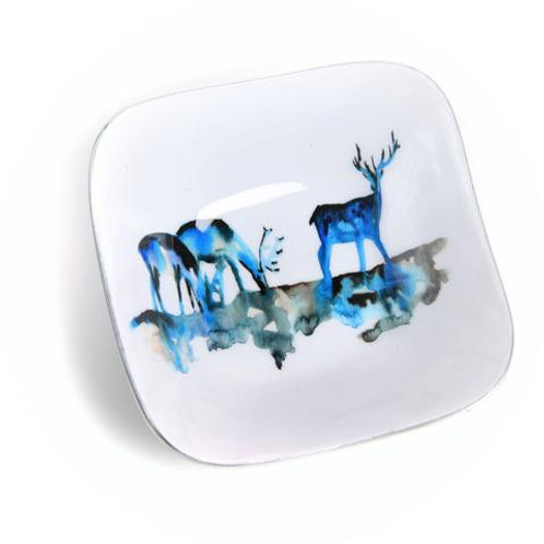 Stag Silhouette Recycled Aluminium Square Bowl