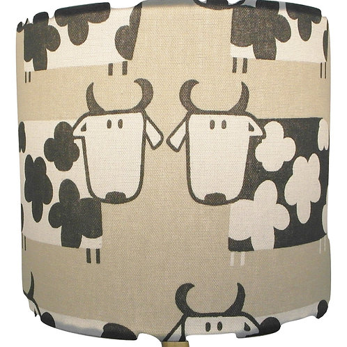 Cartoon Cows Handmade Drum Lampshade, Available in three sizes