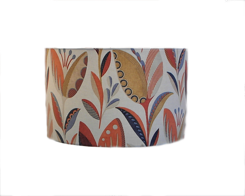 Leon Burnt Orange Modern Leaves Design Handmade Lampshade, Drum or Empire Shapes
