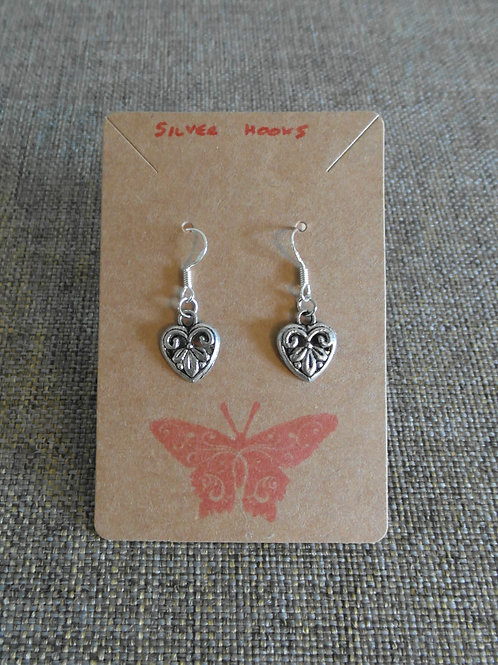 Filigree Heart Earrings With Hooks