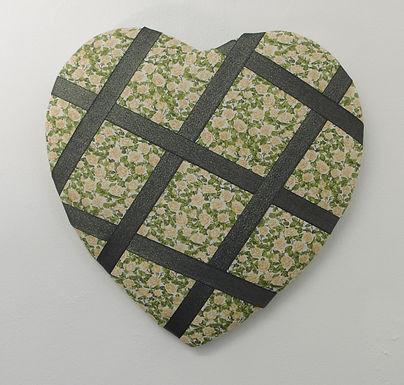 Heart Shaped Green Flowery Fabric Memo Board