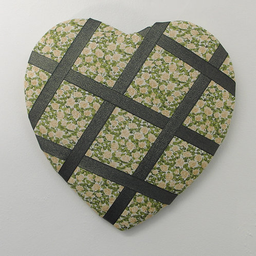 Heart Shaped Green Flowery Fabric Memo Board