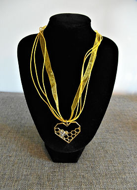 Bee on Honeycomb Heart Necklace