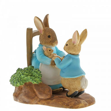 Peter Rabbit At Home by the Fire with Mummy Rabbit