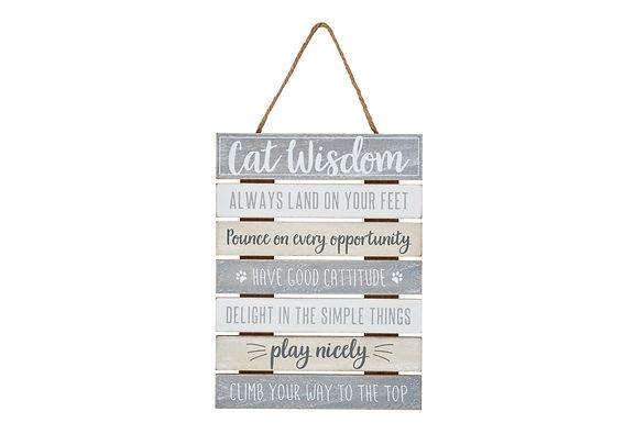 Cat Wisdom Hanging Plaque