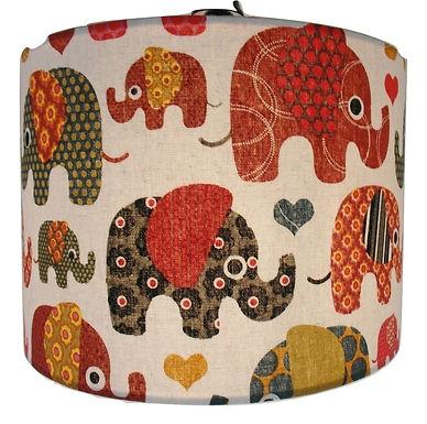 Large Elephants fabric Handmade Lampshade