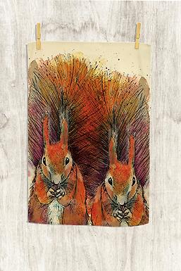 Red Squirrel Tea Towel