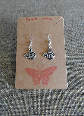 Squirrel Earrings With Silver Hooks