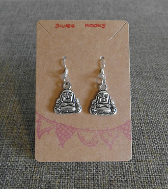 Buddah Earrings With Silver Hooks