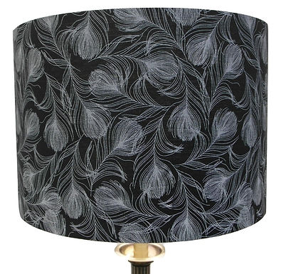 Feathers on Black Cotton Handmade 30cm Drum Lampshade