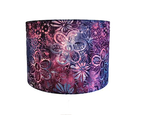 Batik Mulberry Meadow Flower Handmade Lampshade, Drum or Empire Shapes