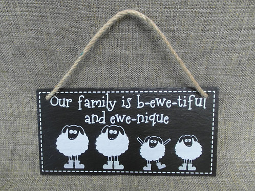 Slate Sheep 'Our Family' Funny Sign