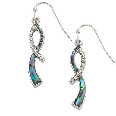 Inlaid Paua Shell Ribbon Twist Earrings