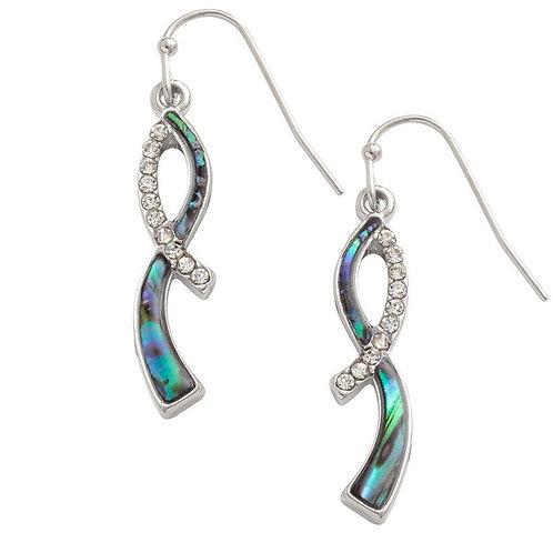 Inlaid Paua Shell Ribbon Twist Earrings