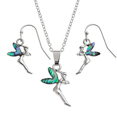 Inlaid Paua Shell Fairy Necklace and Earring Set