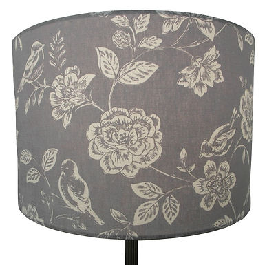Grey Birds and flowers handmade lampshade, Drum, Hexagon or Empire Shapes