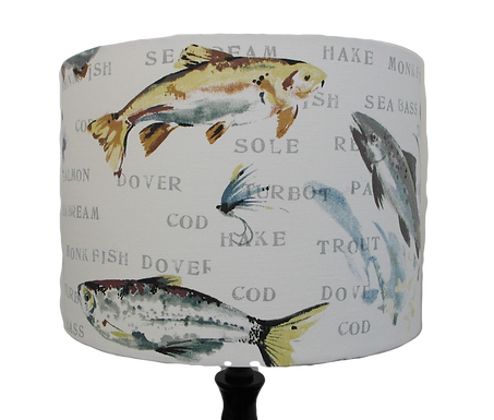 Fly Fishing Design Drum Lampshade, Three sizes available