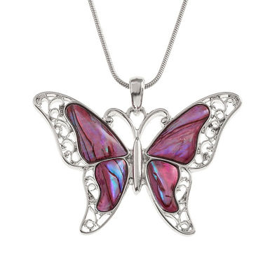 Inlaid Paua Shell Pink Butterfly Necklace