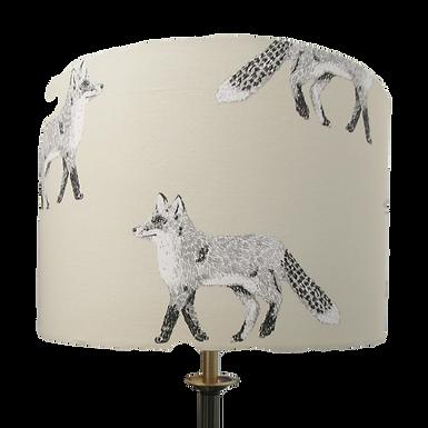 Black & White Large Fox fabric Handmade Lampshade, Drum or Empire Shape