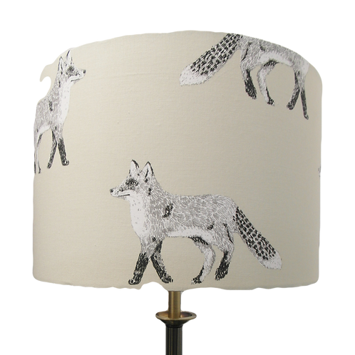 Black & White Large Fox fabric Handmade Lampshade, Drum or Empire Shape