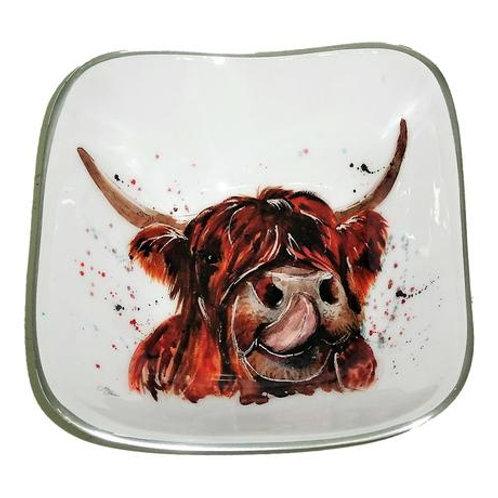 Highland Cow Square Recycled Aluminium Bowl
