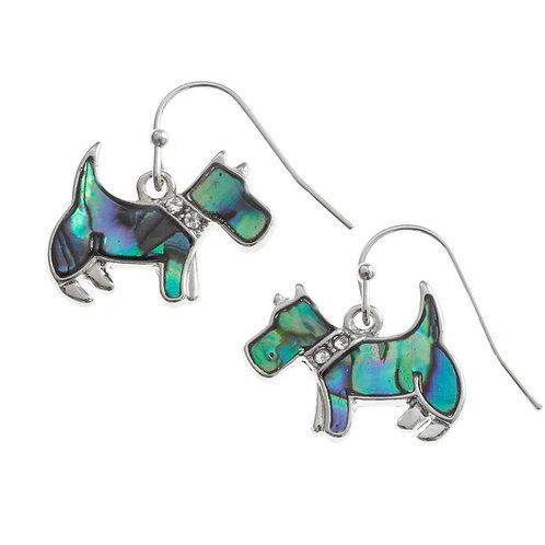 Inlaid Paua Shell Scottie Dog Earrings,