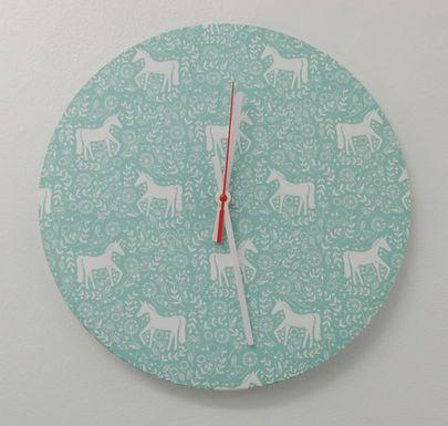 Handmade Unicorn Fabric Wall Clock