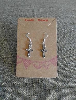Cross Earrings With Silver Hooks