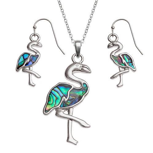 Inlaid Paua Shell Flamingo Necklace and Earrings Set