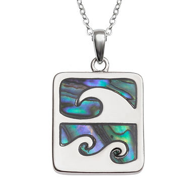 Inlaid Paua Shell Wave Crest Surf Necklace