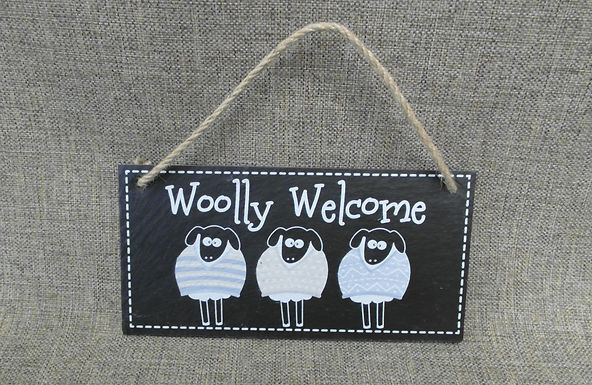 Slate Sheep 'Woolly Welcome' Funny Sign