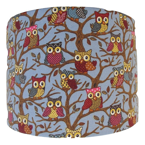 Blue Owls in Tree Handmade Lampshade, Drum or Empire Shapes