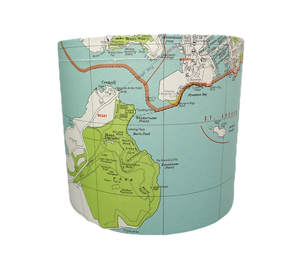 Plymstock, Plymouth & Rame Map Lampshade, 20cm