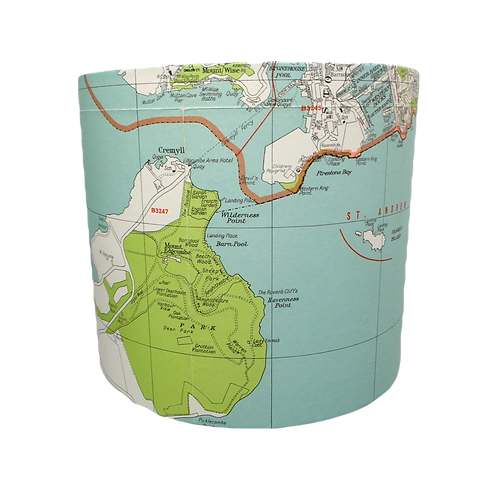 Plymstock, Plymouth & Rame Map Lampshade, 20cm