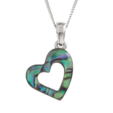 Inlaid Paua Shell Open Heart Necklace