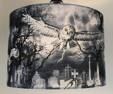 Gothic Owl in Graveyard Handmade Lamps