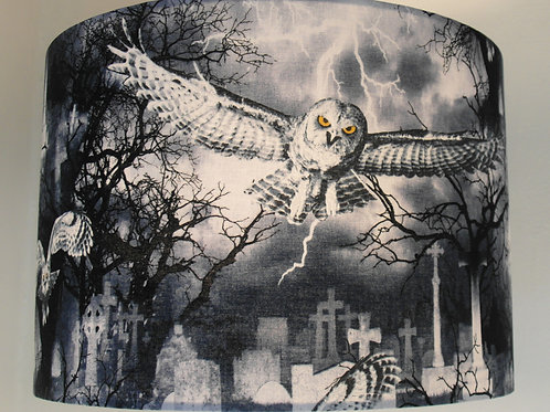 Gothic Owl in Graveyard Handmade Lamps