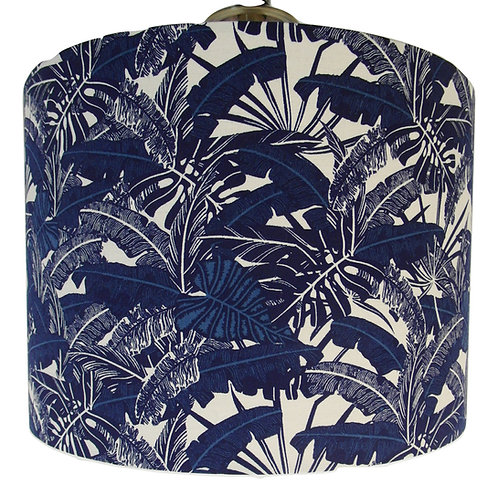 Blue Tropical Leaves Lampshade, Drum or Empire Shapes