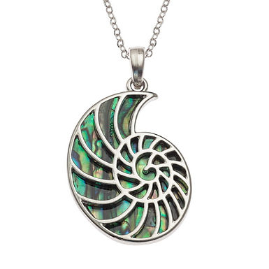 Inlaid Paua Shell Ammonite Fossil Necklace