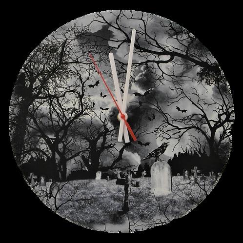 Handmade Gothic Graveyard Fabric Wall Clock